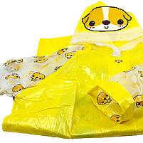 Детский плащ-дождевик Lesko водонепроницаемый с местом под рюкзак желтый размер XXL многоразовая защита, фото 4