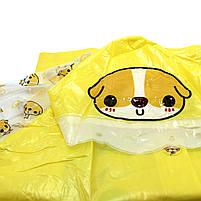 Детский плащ-дождевик Lesko водонепроницаемый с местом под рюкзак желтый размер XXL многоразовая защита, фото 6