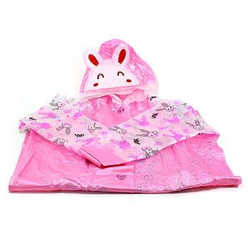 Детский плащ дождевик Lesko водонепроницаемый с местом под рюкзак розовый L для девочек яркий