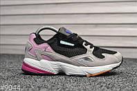 Стильные женские кроссовки Adidas Falcon Black/Grey/Pink, фото 1