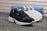 Стильні жіночі кросівки Adidas Falcon Black/White, фото 4