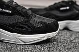 Стильні жіночі кросівки Adidas Falcon Black/White, фото 6