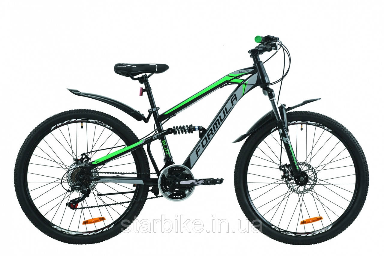 """Горный велосипед 26"""" Formula BLAZE 2020 (черно-серый с зеленым (м))"""