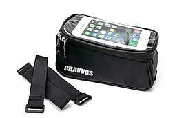 Велосумка на верхнюю трубу рамы, с отделением под смартфон черный BRAVVOS CT-003
