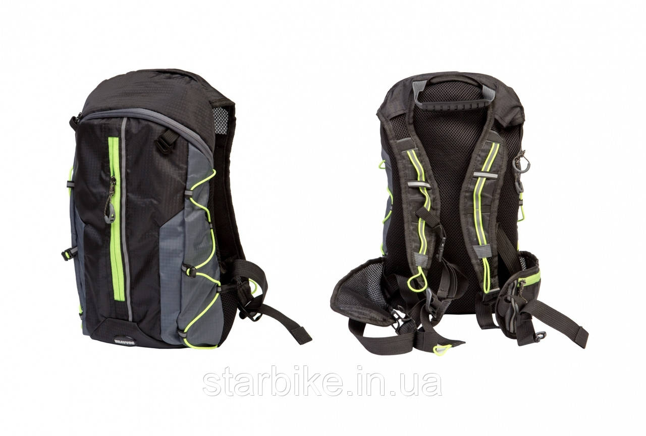 Рюкзак QIJIAN BAGS B-300 44х26х9cm черно-серо-зеленый