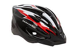 Шлем велосипедный HE 127 черно-бело-красный (L)
