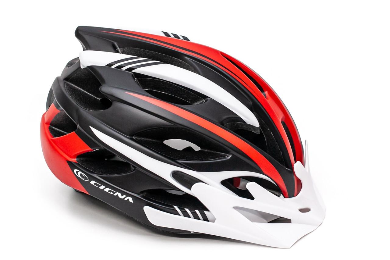 Шлем велосипедный с бел. козырьком СIGNA WT-016 черно-бело-красный