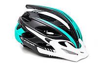 Шлем велосипедный с бел. козырьком СIGNA WT-016 черно-бело-бирюзовый