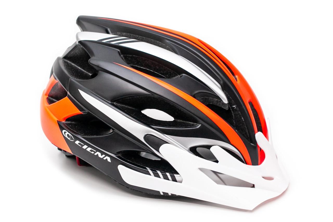 Шлем велосипедный с бел. козырьком СIGNA WT-016 черно-серо-оранжевый