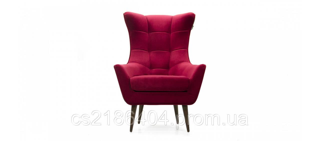 Класичне крісло на дерев'яних ніжках у тканині рожевий велюр GEORGETTI