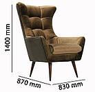 Класичне крісло на дерев'яних ніжках у тканині рожевий велюр GEORGETTI, фото 7