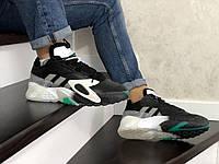 Кроссовки Мужские Хит Весна Чорные с Серым в стиле Adidas Streetball