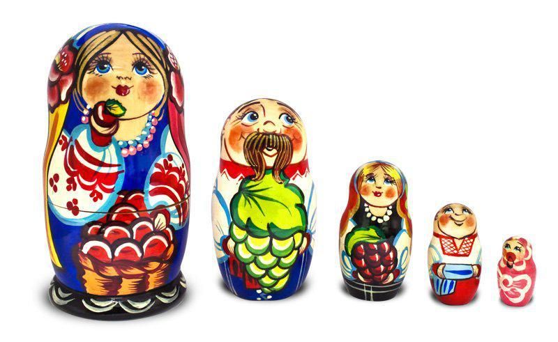 Матрёшка — Украинская семья  из пяти 12см (дерево) 482452