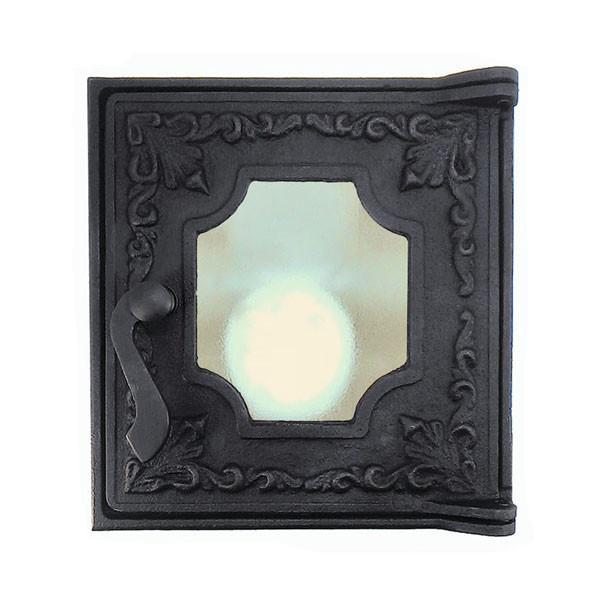Топочная дверца для печи со стеклом 285х270 мм, чугунная печная дверка 102871
