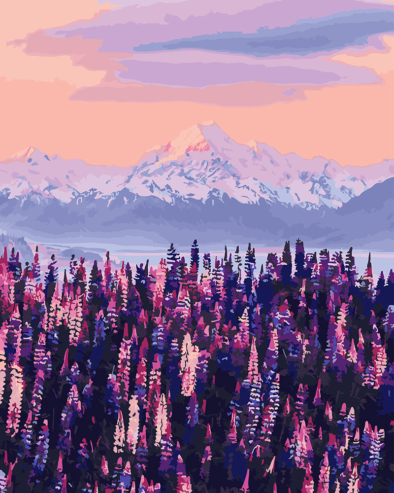 Картина по номерам 40*50см. GX27967 Лавандовый вид на горы Новой Зеландии Brushme