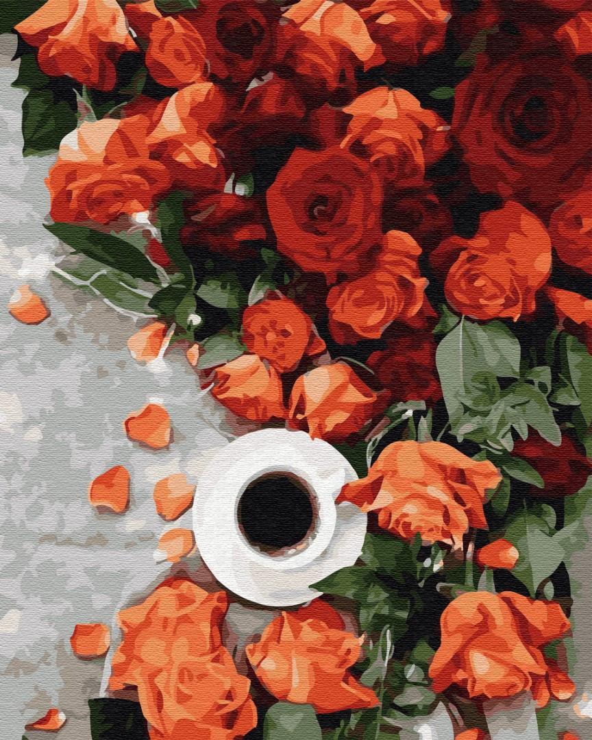 Картина по номерам 40*50см. GX34811 Кофе з запахом роз Brushme