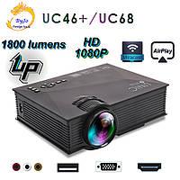 Мультимедийный Wi-Fi  проектор UNIC UC68 BK, домашний кинотеатр 1800 люмен,светодиодный проектор с HD 1080p