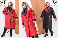 Женское двустороннее стеганое пальто деми батал /разные цвета, 48-58, ST-58567/