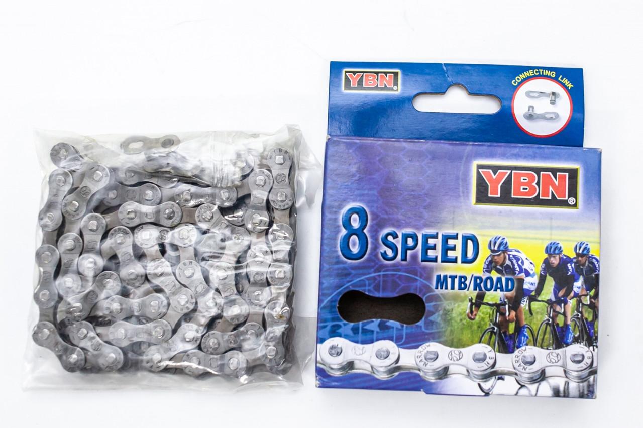 Цепь 8ск. 116зв. gray/gray YBN S8 с замком