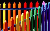 Разноцветный заборчик из дуба  для детей 2000х500 мм, фото 1