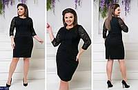 Красивое приталенное платье с гипюром размеры 48-54 AX-7322