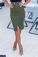 Джинсовая юбка карандаш цвета хаки размеры 42-48 BJ-3034