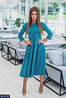 Модное женское клешное платье за колено размеры 42-46 BJ-5197