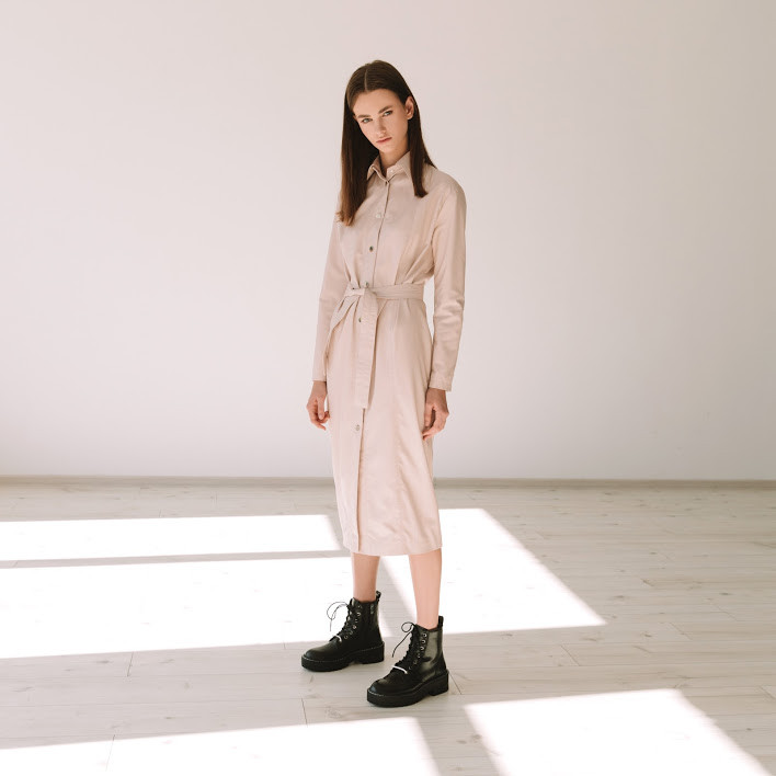Кожаное платье на кнопках (Арт. PT)