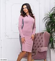 Красивое приталенное платье по колено двунитка размеры 42-48 DI-3403