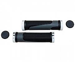 Грипсы резина L125мм с Al черным замком чёрно-сер. XH-56BL /XH-B020