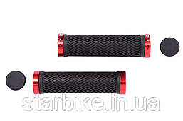 Грипсы PVC L130mm с Al черным замком черно-красный HL-G240