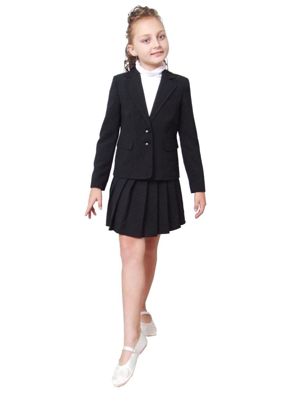 Піджак шкільний для дівчинки м-744 ріст 116 128 134 чорний