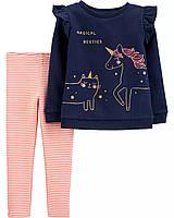 Комплект двойка для девочки 3Т рост 93-98 см Единорог Carters (Картерс) костюм, набор флисовый верх леггинсы