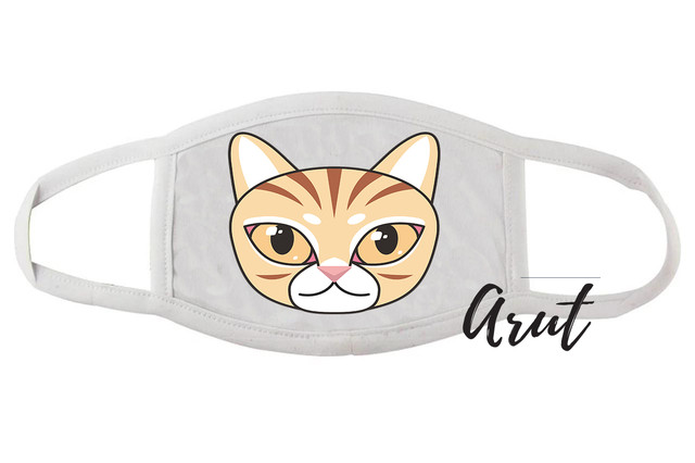 Стильная маска многоразовая для лица Мордочка котика