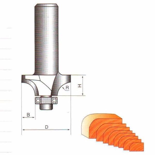Фрези ГЛОБУС кромочні радіусні з підшипником. Серія 1017.    D23 h10 R5 d8
