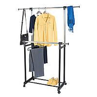 Напольная стойка для одежы, Двойная стойка для одежды, Передвижная вешалка для вещей,