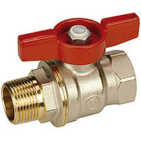 """Полнопроходной шаровой клапан DADO  с вн. и внутр. резьбой, с красным T-р.,никелированный 3/8"""" (Giacomini)"""