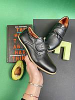 Подростковые туфли кожаные весна/осень черные Yuves М5L, фото 1