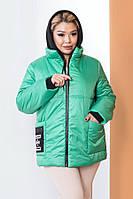 Яркая модная куртка для межсезонья 59068 (48–58рр) в расцветках, фото 1