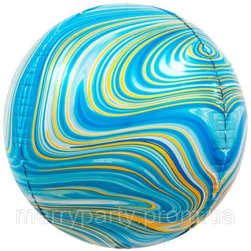 """16"""" (40 см) Сфера мрамор голубой Китай шар фольгированный"""