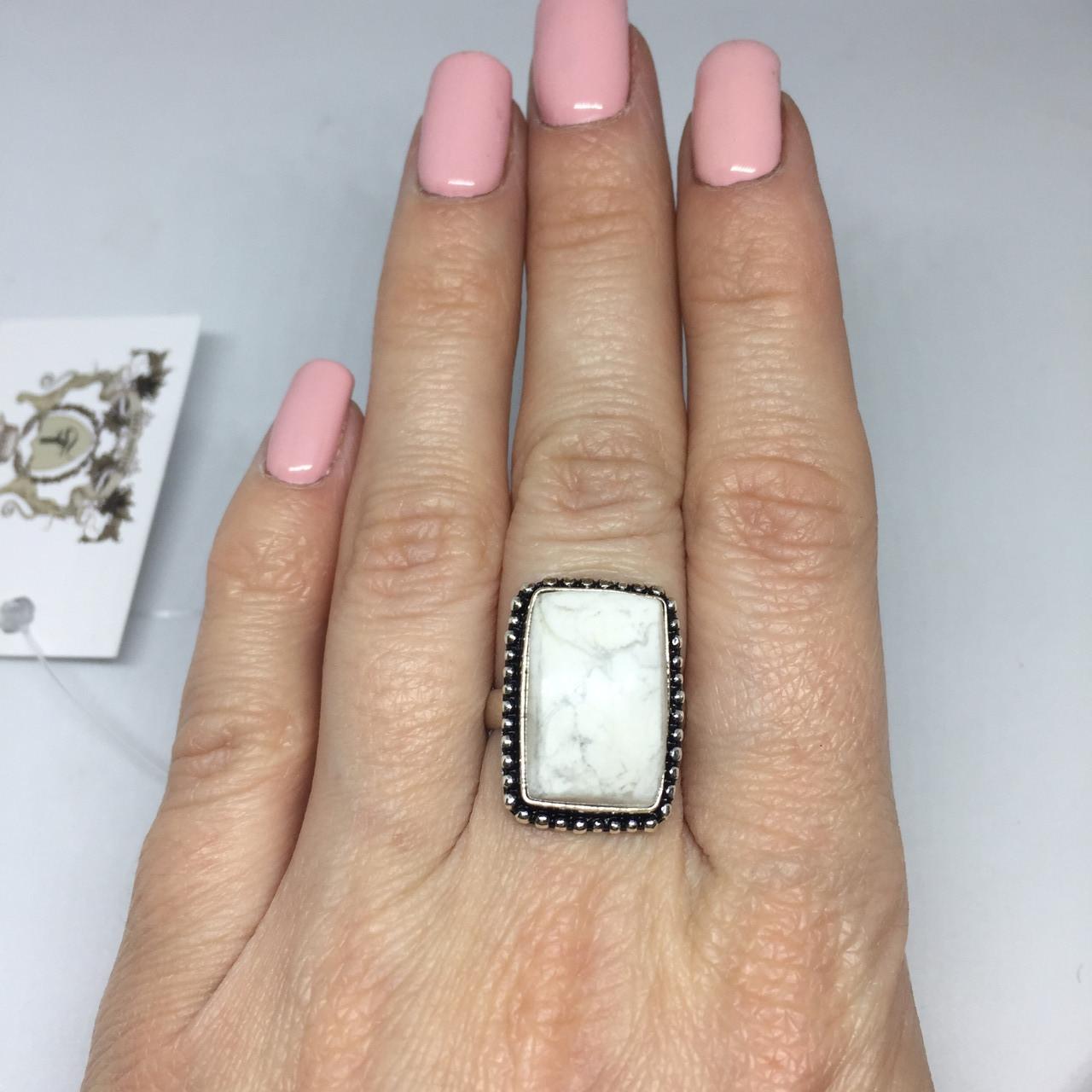 Говлит кольцо с говлитом 16 размер кольцо с камнем говлит в серебре Индия