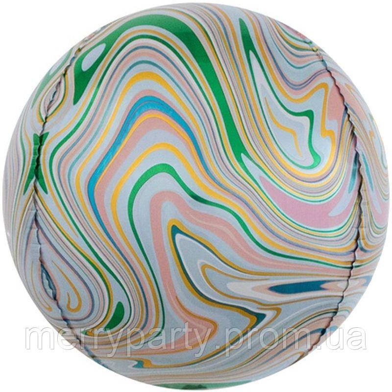 """16"""" (40 см) Сфера мрамор зеленый Китай шар фольгированный"""