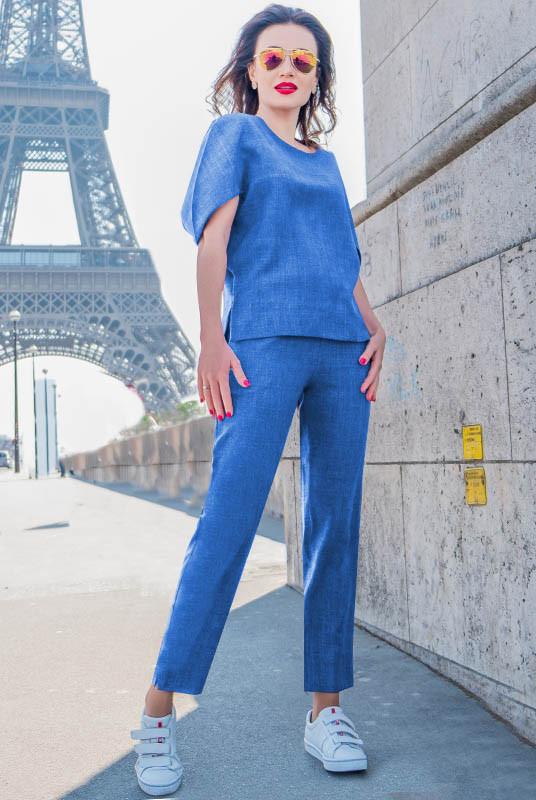 Льняной костюм Бодрум голубой