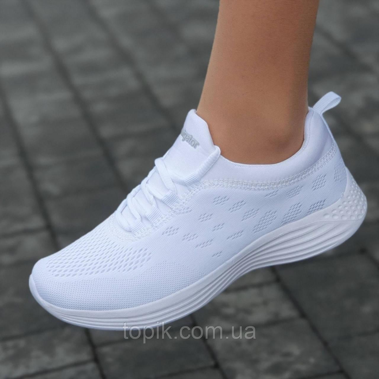 Кроссовки женские белые светлые сетка летние весенние модные для бега фитнеса (Код: 1661)