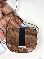 Маленькая кожаная женская сумочка через плечо сумка кроссбоди натуральная кожа лак, фото 1