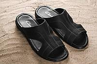 Мужские шлепанцы кожаные летние черные Yuves Z5, фото 1