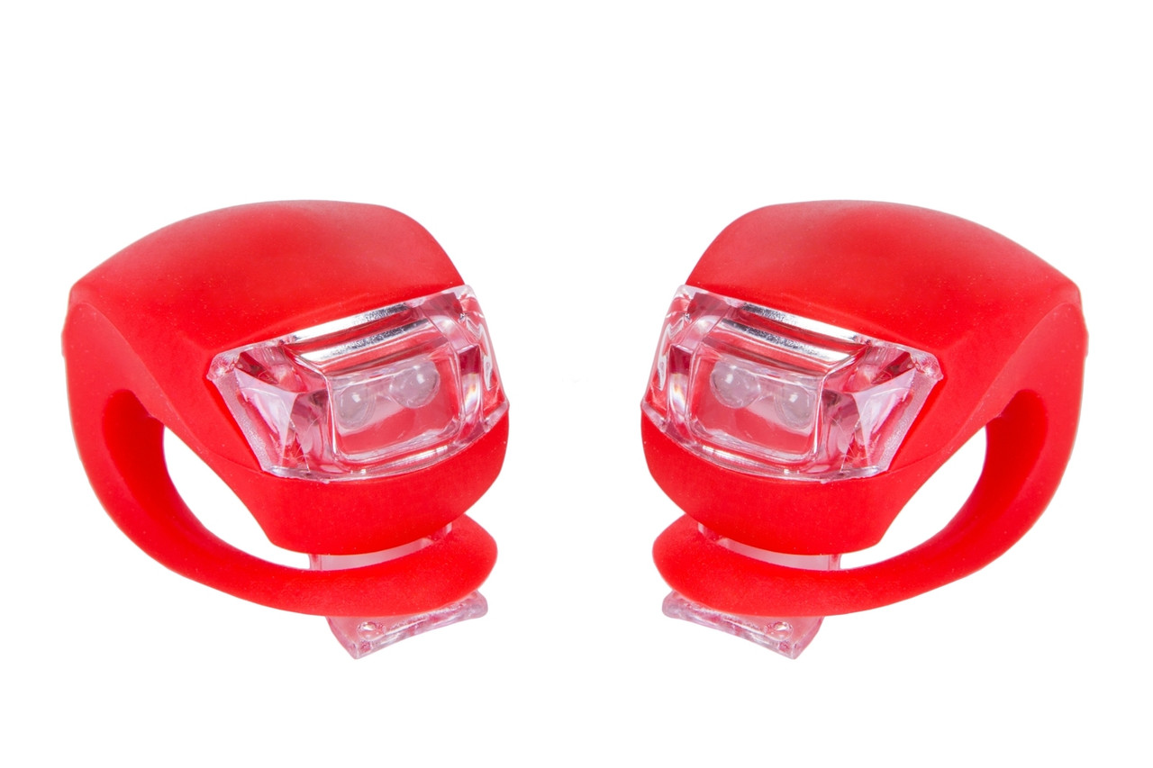 Мигалка 2шт BC-RL8001 белый+красный свет LED силиконовый (красный корпус)