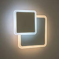 Настенный светодиодный светильник, бра LUMINARIA GEOMETRIA SQUARE 12W S-185 -WHITE 220-IP20 (квадрат)
