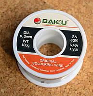 Припой BAKU Sn 63%, RMA 1.9%, 0,3 мм, 100 г
