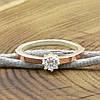 Серебряное кольцо с золотом Вик вставка белый фианит вес 2.2 г размер 18.5, фото 4